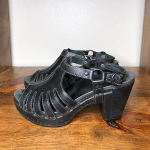 Dansko Leather Black Heels